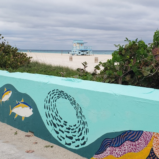 Wall murals along the beach walk at Haulover Park