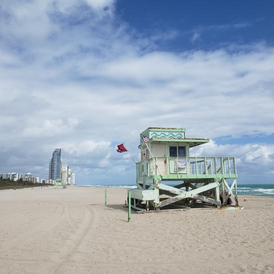 Beautiful lifeguard stands at Haulover Park